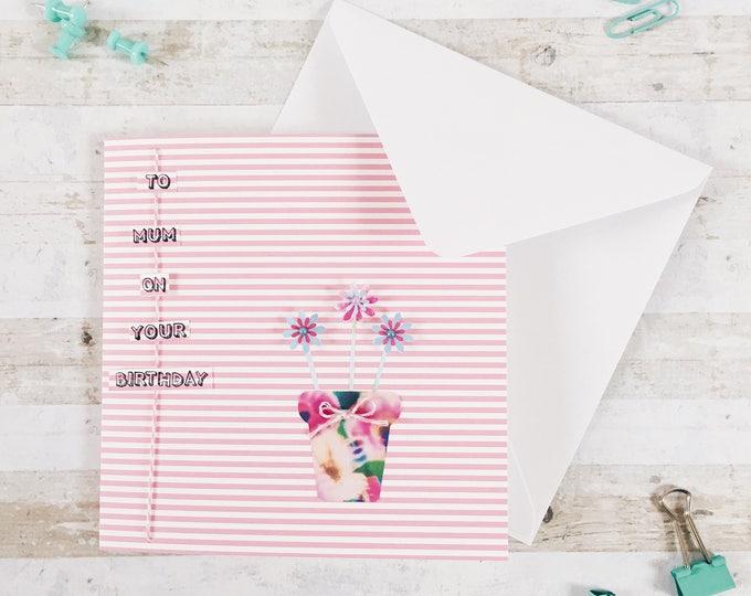 Happy birthday card, plant pot flower design