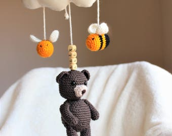 Handmade Crochet Baby Bear & Bees Mobile - Toddler Gym Pram Stroller Seat Hanger Toy - Nursery Decor - Rattle - Personalised