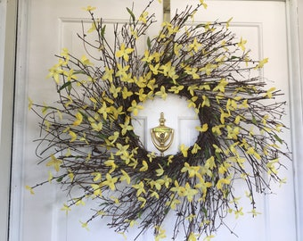Yellow Forsythia Wreath. Spring Wreath. Summer Wreath. Grapevine Wreath. Spiral Wreath. Front door Wreath. Yellow Wreath. Gift.