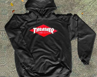 Thrasher Logo Red White Diamond Unisex hoodie front only Graphic hoodie 4