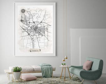 IOWA CITY Iowa Watercolor Map Art Black Ink and Light Watercolor Iowa City IA Vintage City Map Large Size Graphic Drawn Wall Art Canvas Map