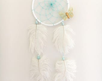 "5"" White & Teal Butterfly Dream Catcher"