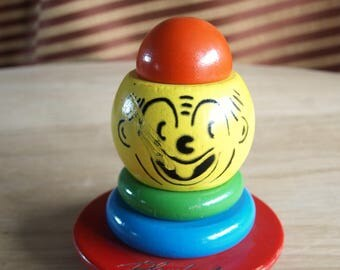 Vintage Playskool Clown Stacking Wood Toy Top – Rare