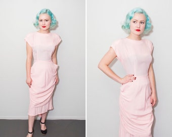 40's Style Bubblegum Pink Peplum Dress | Size Medium