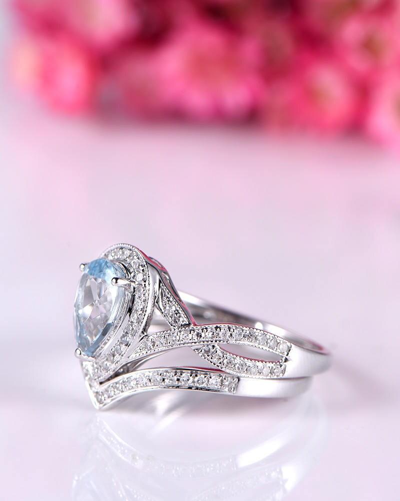 White gold aquamarine ring set natural aquamarine engagement ring ...