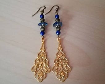 "Dangling earrings bronze and gold original ""Harriet"", Crystal, lapis lazuli semi precious beads"