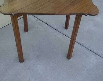 Antique Minimalist Drop Leaf Gate Leg Wooden Table