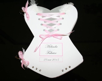 Gold shaped Corset White Pink Silver 50 pages book