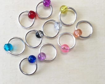 Set of 10 Rainbow Snagless Stitch Markers - Fits Up To US8 Needles