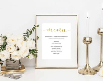 Wedding Menu Template- Wedding Menu Printable- Wedding Menu Cards- Wedding Menu Sign- Menu Card Template- Printable Menu Card-Rose Gold Menu