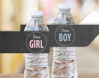Team Girl Team Boy Printable Water Bottle Labels || Chalkboard Gender Reveal Party Decoration || Gender Reveal Party Ideas (DIGITAL PRODUCT)