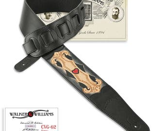 Black Leather Guitar Strap Hand Tooled Scroll & Heart Design CVG-62