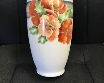 Hand painted Lovely red poppy vase