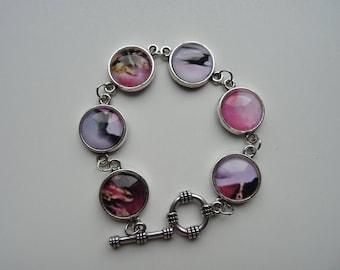Bracelet cabochon pink blast