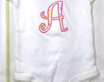 Monogram Applique Initial Baby Boy or Girl Onsie