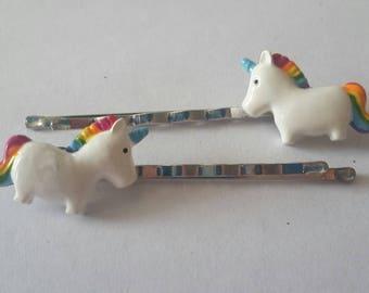 Enamel rainbow unicorn hair grips, hair pin, hair clip, hair accessories.