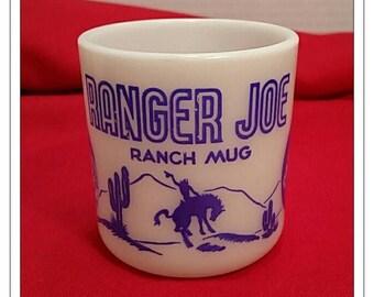 Hazel Atlas Milk Glass Blue Ranger Joe Ranch  D Handle Child's Mug