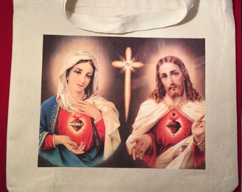 Catholic tote bag- sacred Heart of Jesus, sacred Heart of Mary, canvas tote bag - Religious