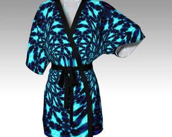 Psychedelic Kimono, Blue Kimono, Kimono Robe, Draped Kimono, Dressing Gown, Festival Clothing, Loungewear, Beach Coverup, Swimsuit Coverup