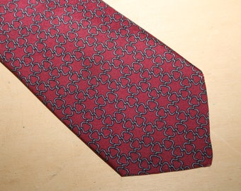 Authentic Hermes 100% Silk Tie - Mint Condition - Red  - Pattern 757 - (Ref 1451)
