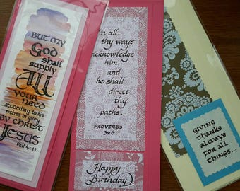 Handwritten Bible text greeting cards (Pack of 3)