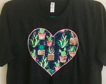 Cactus Heart Tee - Sewn on Bella Canvas T-Shirts