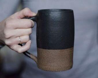 Ceramic Mug, Modern Mug, Pottery Mug, Ceramic Beer Stein, Valentines Day Gift For Him, Coffee, Beer Gift, Husband Gift, Handmade Mug, Black