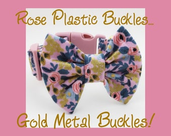 Rifle Paper Co. Gold Metallic Violet Rosa & Bow Dog or Puppy Collar