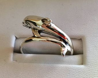 USA FREE SHIPPING!!! Sterling Silver Dolphin By Pass Ring