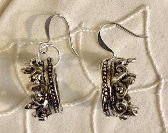 Antiqued Silver Filled Queen Crown Earrings