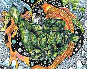 Art Print Koi Fish Pond Swim