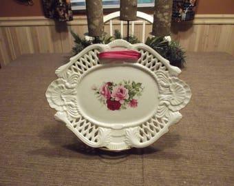Vintage Formalities by Baum Bros., Pierced Latticework Victorian Rose Porcelain Oval Serving Platter