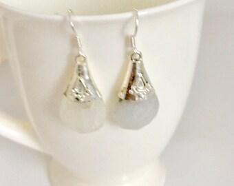 Sterling silver earrings, drop tribal earrings, 925 silver earrings, raw quartz earrings, raw earrings, Tribal earrings, handmade jewellery