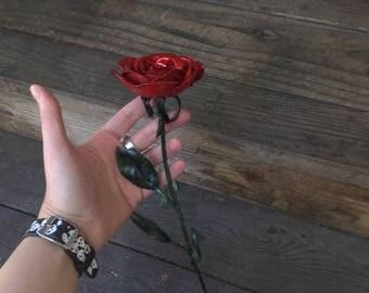 Hand forged rose, metal rose, steel rose, copper rose