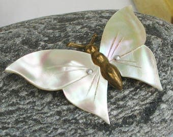 Vintage Butterfly Brooch Faux Mother of Pearl Wings Gold Tone Metal