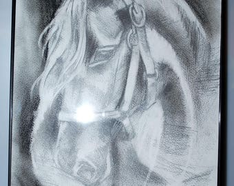 Original Pencil Drawing. Horse.Signed. Framed