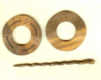 Wood & Stone Shawl Pin
