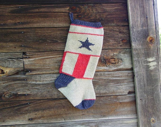 Americana Christmas Stocking Knitting Pattern for worsted weight yarn