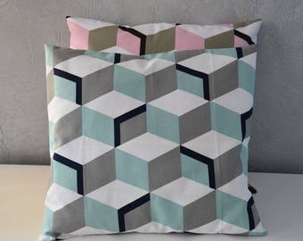 Pillow case - 40 X 40 cm - fabric geometric patterns - toned ice blue, grey, Navy Blue and white
