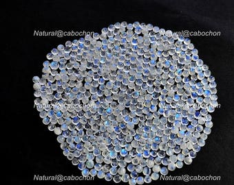 Calibrated Natural White Rainbow Moonstone 3 mm Round Cabochon loose gemstone lot, wholesale lot , blue flashy moonstone lot 10 pc