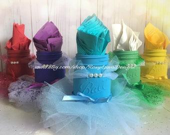 Rainbow colored mason jar princess tutu set, birthday party centerpiece, party decor
