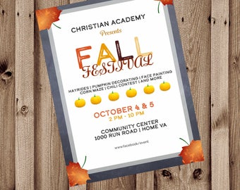 Fall Festival Flyer, Back to School Bash, Craft and Vendor Show, Direct Sales, Thanksgiving Auction, Promotional Poster, 8.5x11 Digital