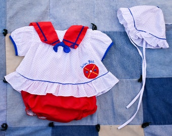 Vintage MAYFAIR Sailor Girl Outfit with Matching Hat and Brief Size 6-9 Mos.