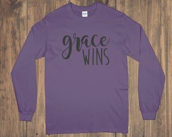 Grace Wins Long Sleeve Shirt / T-Shirt / Crew Neck T-Shirt / Christian Shirt / Grace Shirt / Personalized Long Sleeve / Custom Shirt