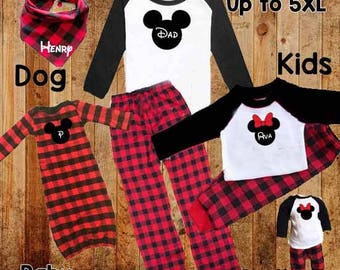 Buffalo Plaid Family Pajamas PJs Sleepwear Long Johns Kids Adult Monogrammed Holiday Plus Size to  5XL Disney Polar Express Christmas Rustic