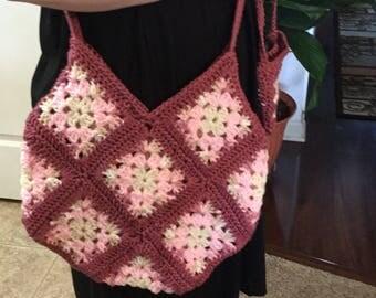 Large crocheted handbag