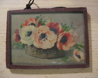 For the dollhouse: antique french flower painting ... litho ca. 1920