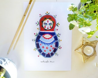 Matrioska, Matriosca, folk art, folclore, russia, illustrazione russa, naif art, folk illustration, floral folk, naif