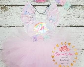 Unicorn Birthday Outfit, Unicorn headband, Unicorn Rainbow Birthday tutu set, Unicorn Romper, Rainbow unicorn set, Unicorn Girls Costume