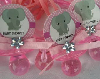 Baby shower pacifiers elephant theme for either boy or girl. Lot of 12 ready to use pacifiers.